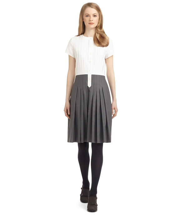PLEATED DRESS White-Grey
