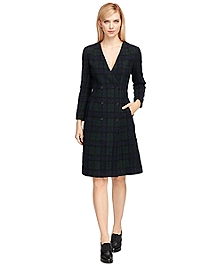 Wool Plaid Double-Breasted Dress