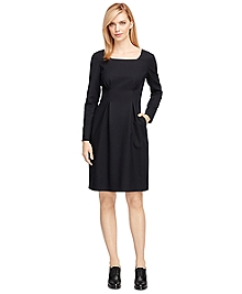 Wool Stretch Square Neck Dress