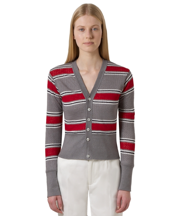 Cotton and Linen Reversible Stripe Cardigan Grey