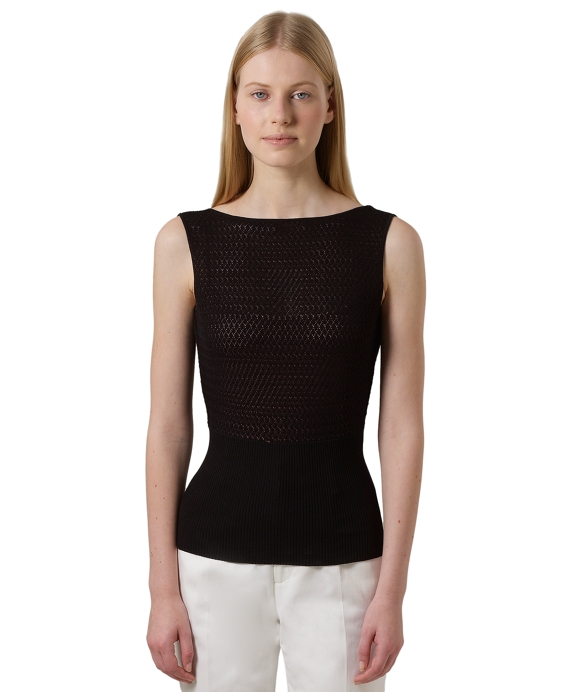 Sleeveless Pointelle Sweater Black