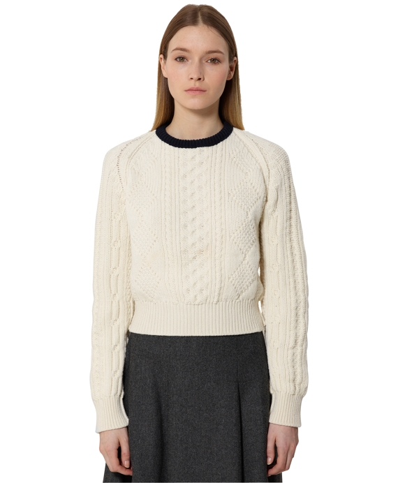 Cropped Aran Cable Sweater Ivory-Navy