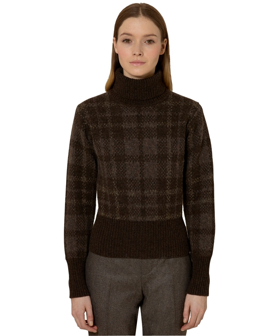 Plaid Jacquard Turtleneck Multi