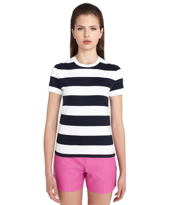 Short-Sleeve Stripe T-Shirt White-Navy