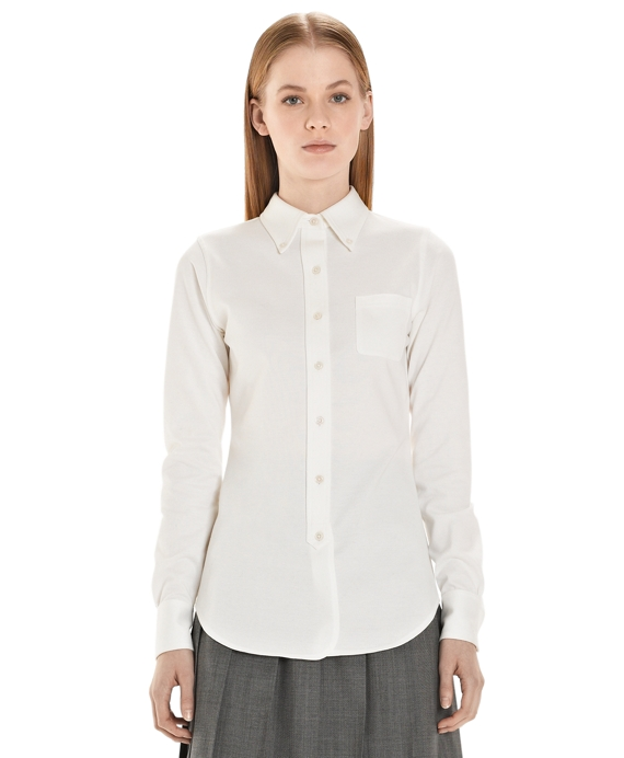 Pique Button-Down Shirt White