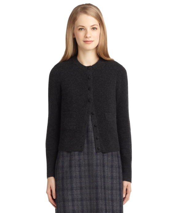 Brushed Cardigan with Elbow Patches Charcoal Heather