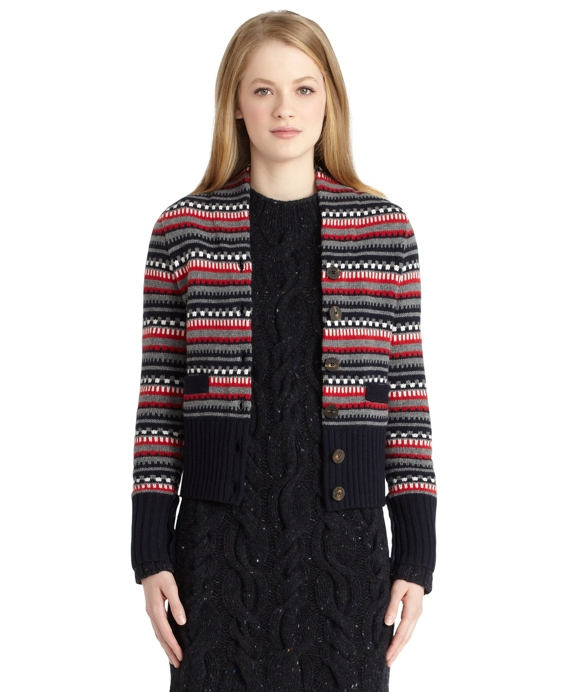 Fair Isle Cardigan Navy-Grey-Red