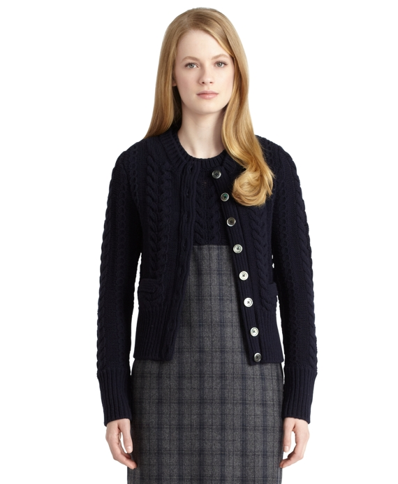 Cable Knit Cardigan Navy
