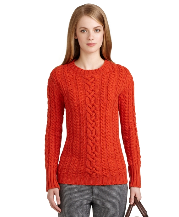 Cashmere Cable Knit Crewneck Sweater Orange