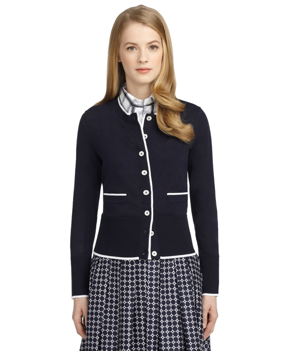 COTTON TIPPED CARDIGAN Navy