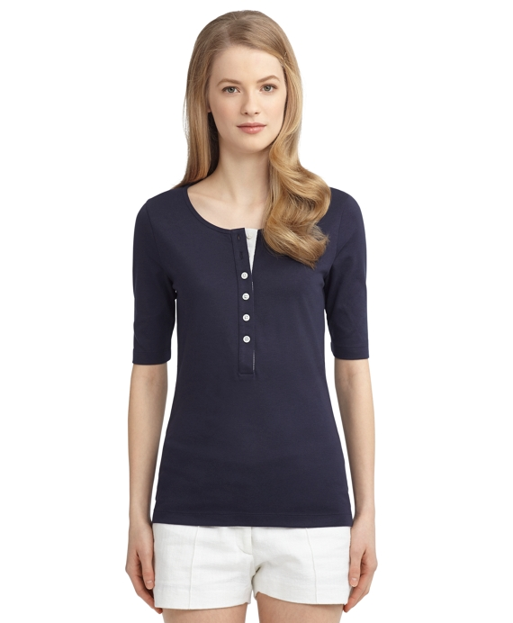 SHORT-SLEEVE HENLEY Navy