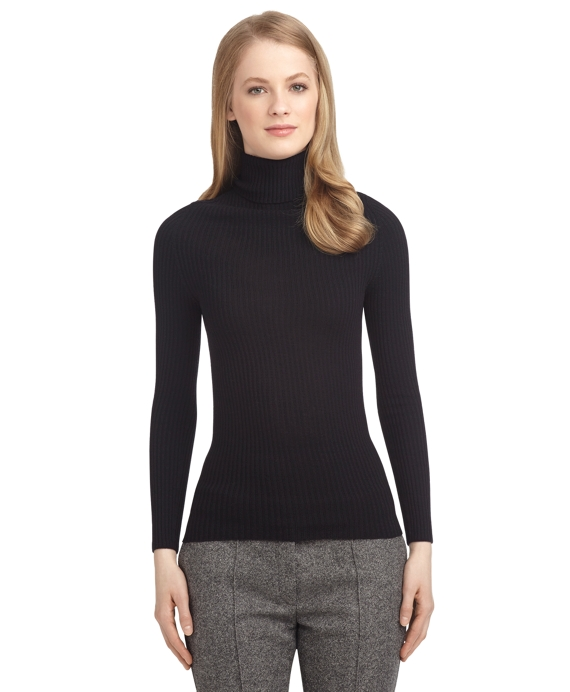 Women's Black Fleece Navy Blue Ribbed Turtleneck Sweater