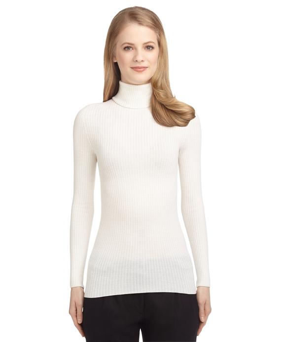 Women's Black Fleece Ivory Ribbed Turtleneck Sweater | Brooks Brothers