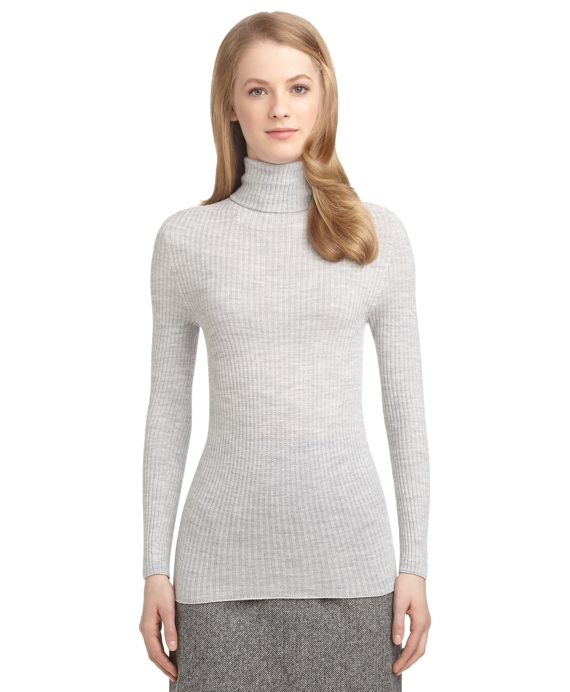 Women's Black Fleece Light Grey Ribbed Turtleneck Sweater