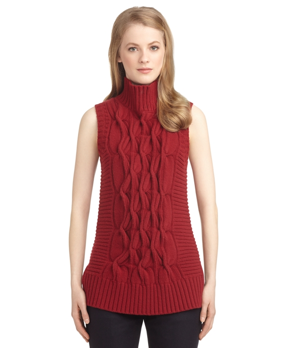 Women's Black Fleece Sleeveless Cable Knit Turtleneck Sweater ...