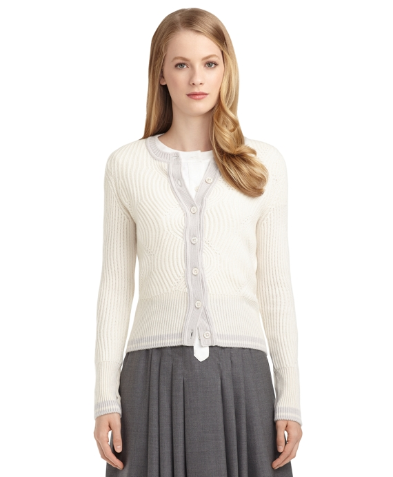 CASHMERE CABLE KNIT CARDIGAN White