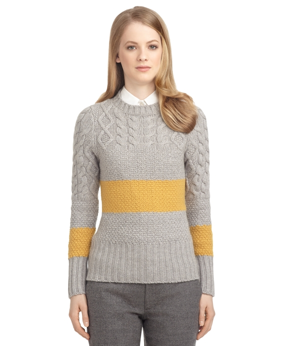 CASHMERE STRIPED SWEATER Grey-Gold