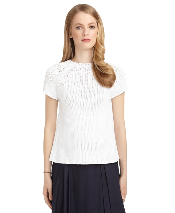 CAP SLEEVE A-LINE CREWNECK SWEATER White