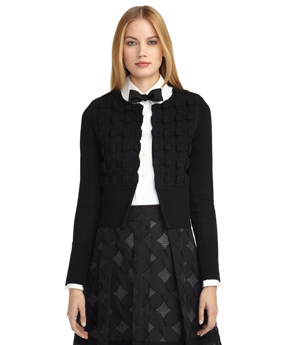 BOW LACE CARDIGAN Black