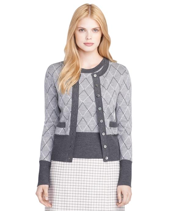 Merino Wool Argyle Cardigan Grey
