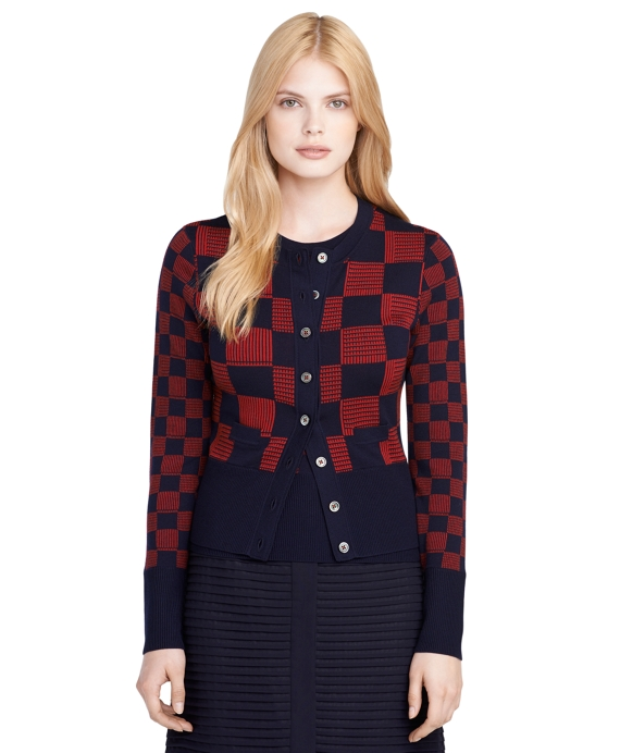Checker Crewneck Cardigan Navy-Red