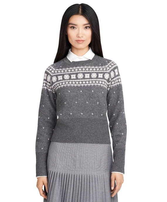 Foulard Fair Isle Crewneck Sweater Grey-Pink
