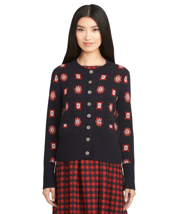 Cashmere Foulard Cardigan Navy-Red
