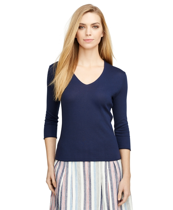 Cotton and Cashmere Sweater Navy