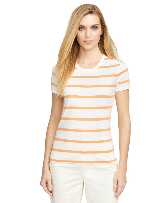 Short-Sleeve Stripe Knit Orange