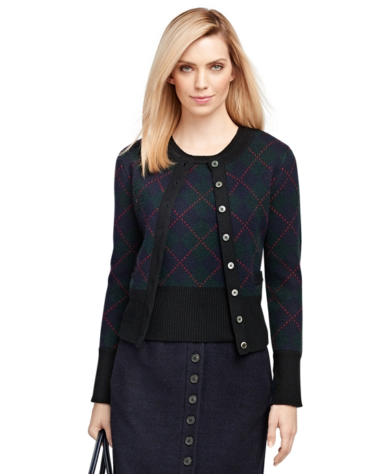 Merino Wool Black Watch Cardigan Navy-Green