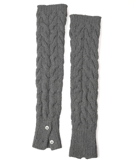 Black Fleece Cable Leg Warmers Grey