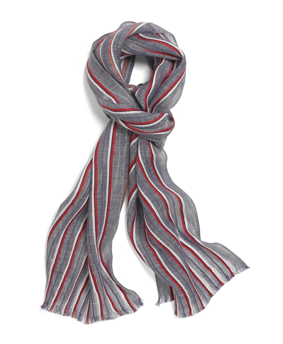 Linen and Cotton Striped Scarf Navy