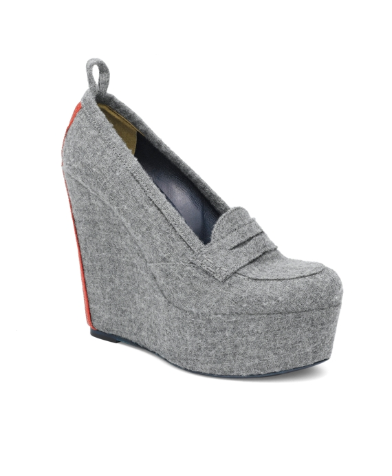 Felt Wedge Loafer Grey