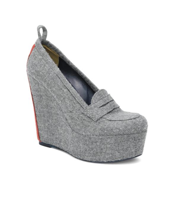 Felt Wedge Loafer Grey