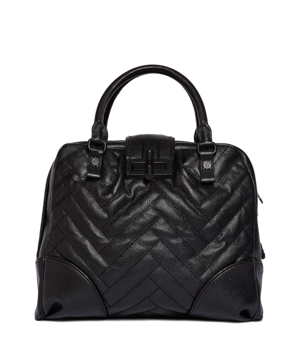 Pebble Leather Signature Stripe Bag Black