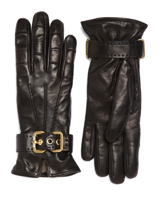 Cashmere-Lined Leather Gloves Black