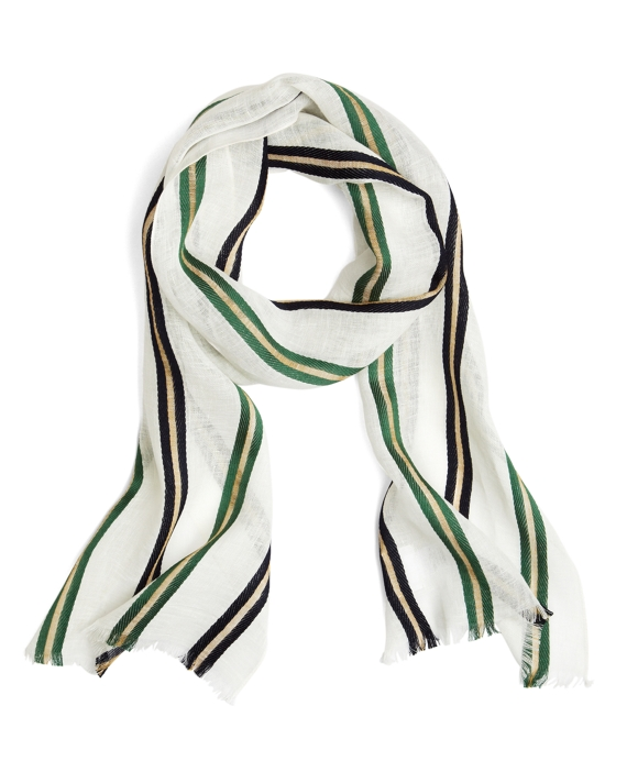 WIDE STRIPE SCARF Green-Navy