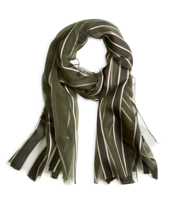 SILK STRIPE SCARF Green-Navy