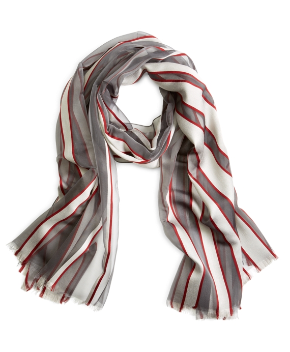 SILK STRIPE SCARF Grey-Burgundy