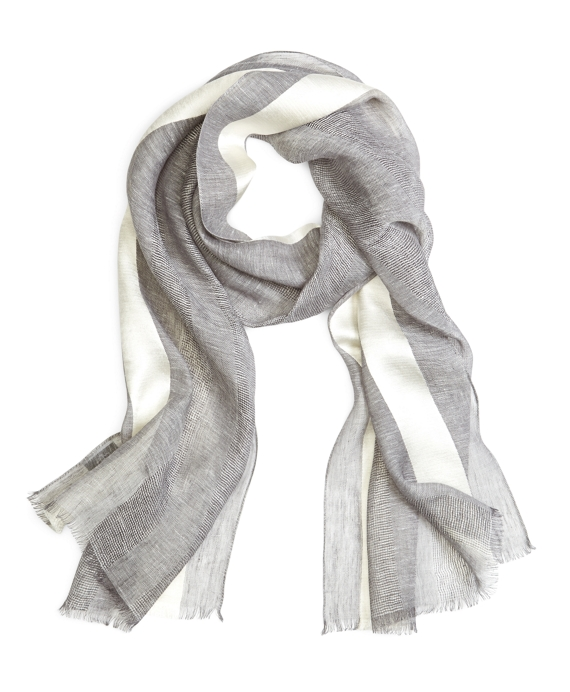 STRIPE SCARF Grey-White