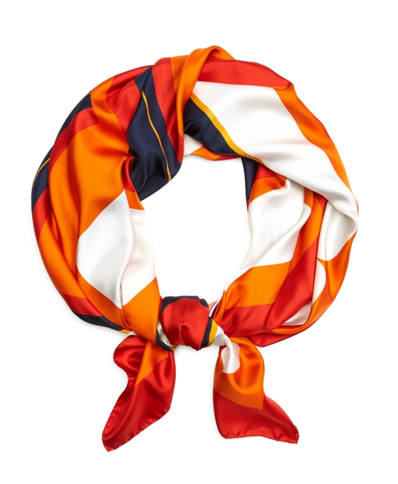SILK VINTAGE SCARF Navy-Orange-Coral