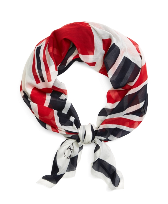 SILK FLAG SCARF Navy-Red-White