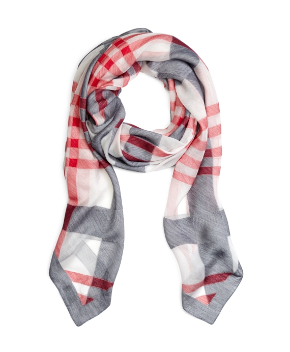 LARGE PLAID SCARF White-Navy-Red
