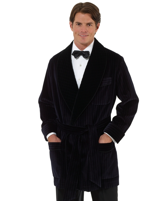 Stripe Smoking Jacket Navy