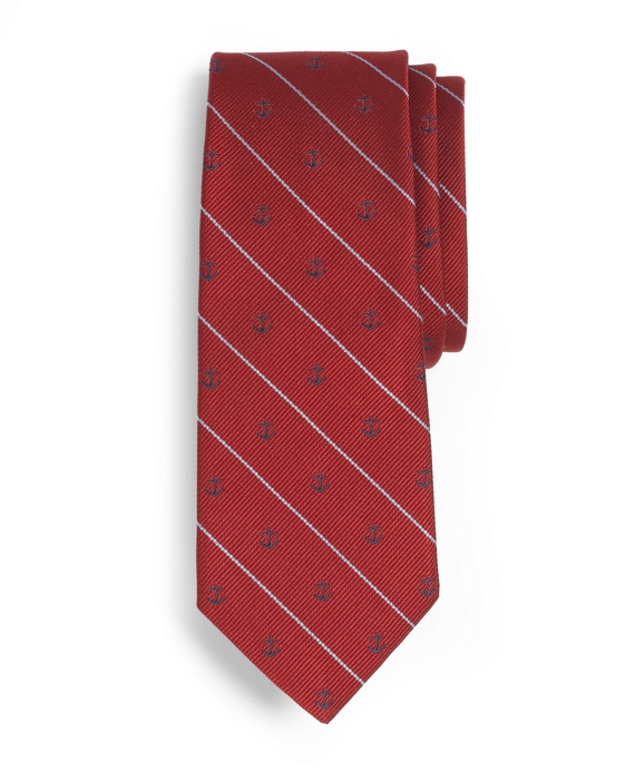 Anchor Stripe Tie Red