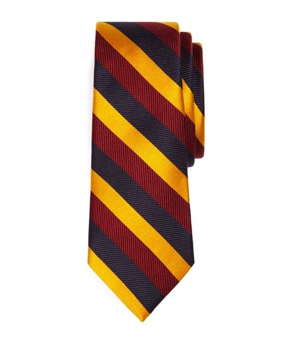 Satin and Twill Triple Stripe Tie Navy-Burgundy-Gold