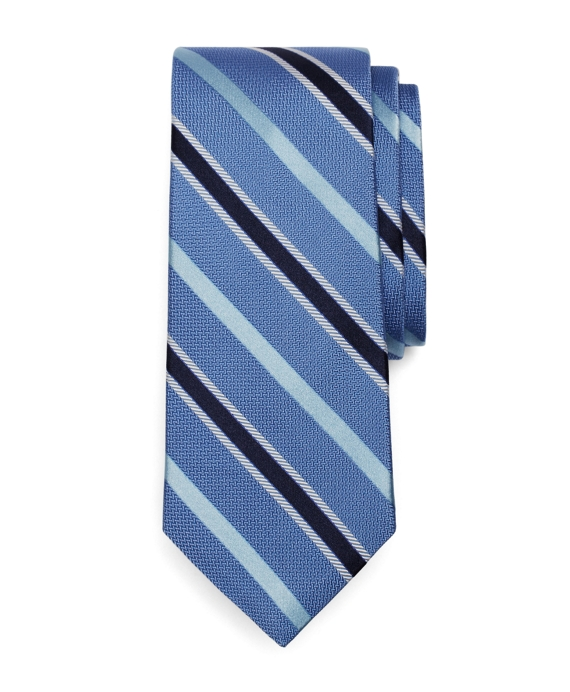 Satin Alternating Stripe Tie Blue-Navy