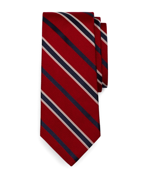 Satin Alternating Stripe Tie Red-Navy