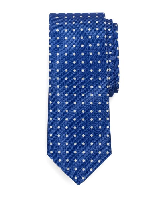 Polka Dot Panama Print Tie Blue
