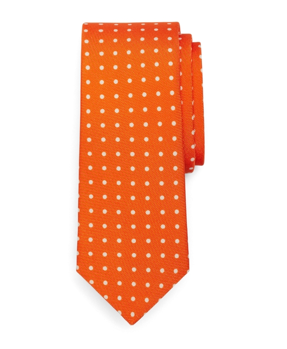 Polka Dot Panama Print Tie Orange